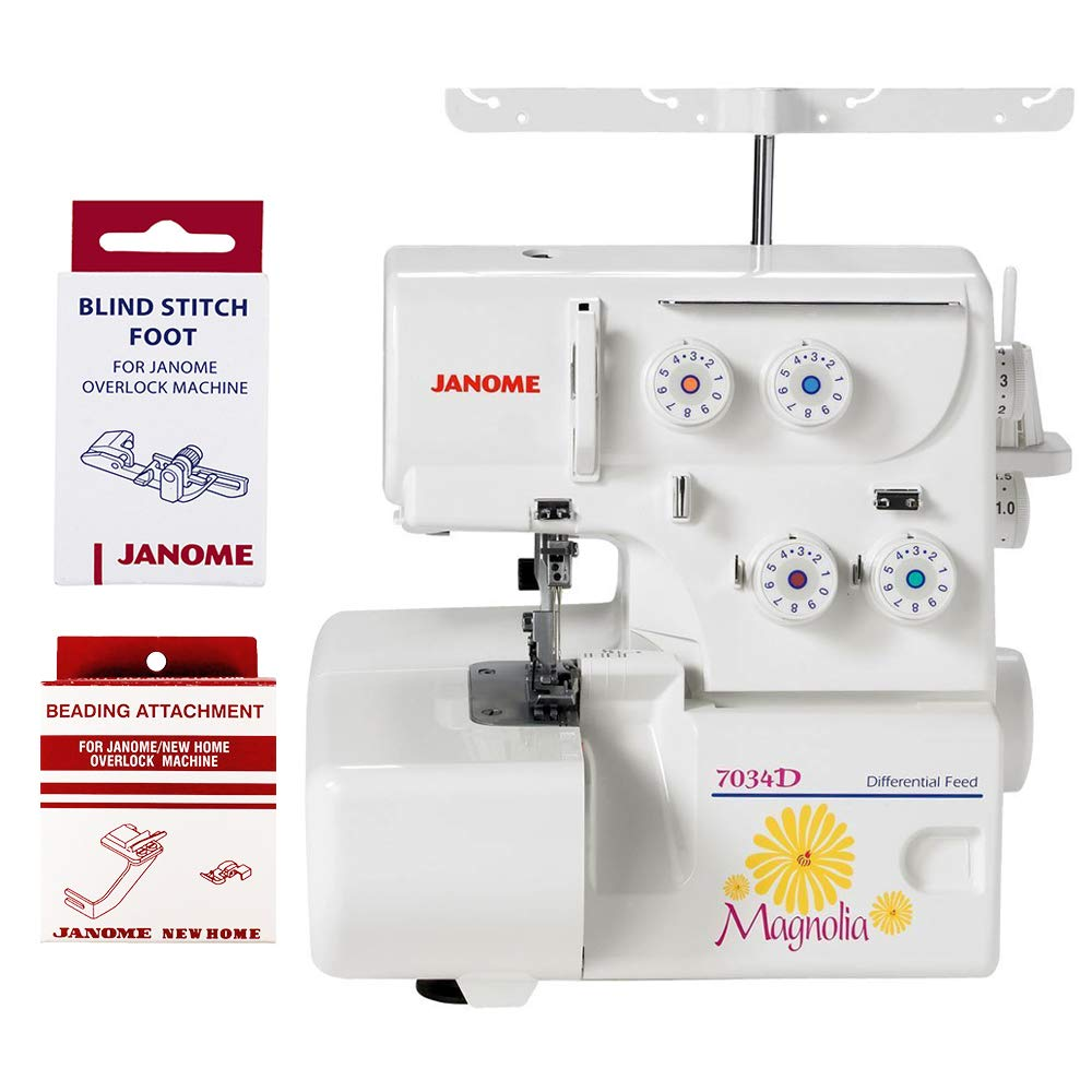 Janome Magnolia 7034D Serger Sewing Machine w/2-Piece by Janome