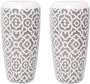 Hosley Set of 2 White Ceramic Vase with Pattern Design 10 Inch High. Ideal Gift for Weddings Home Office Decor Dried Flower Arrangements Votive Candle Gardens O9 (10