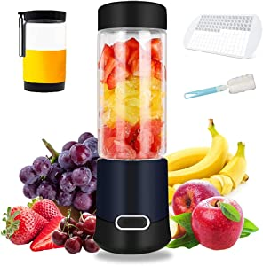 Portable Blender, Personal Size Blender for Shakes, Smoothies, Food Prep and Frozen Blending with USB, 16oz Cups with 2 Lids, 6 Blades,Home Office Sports Travel Outdoors Good Choice (black)