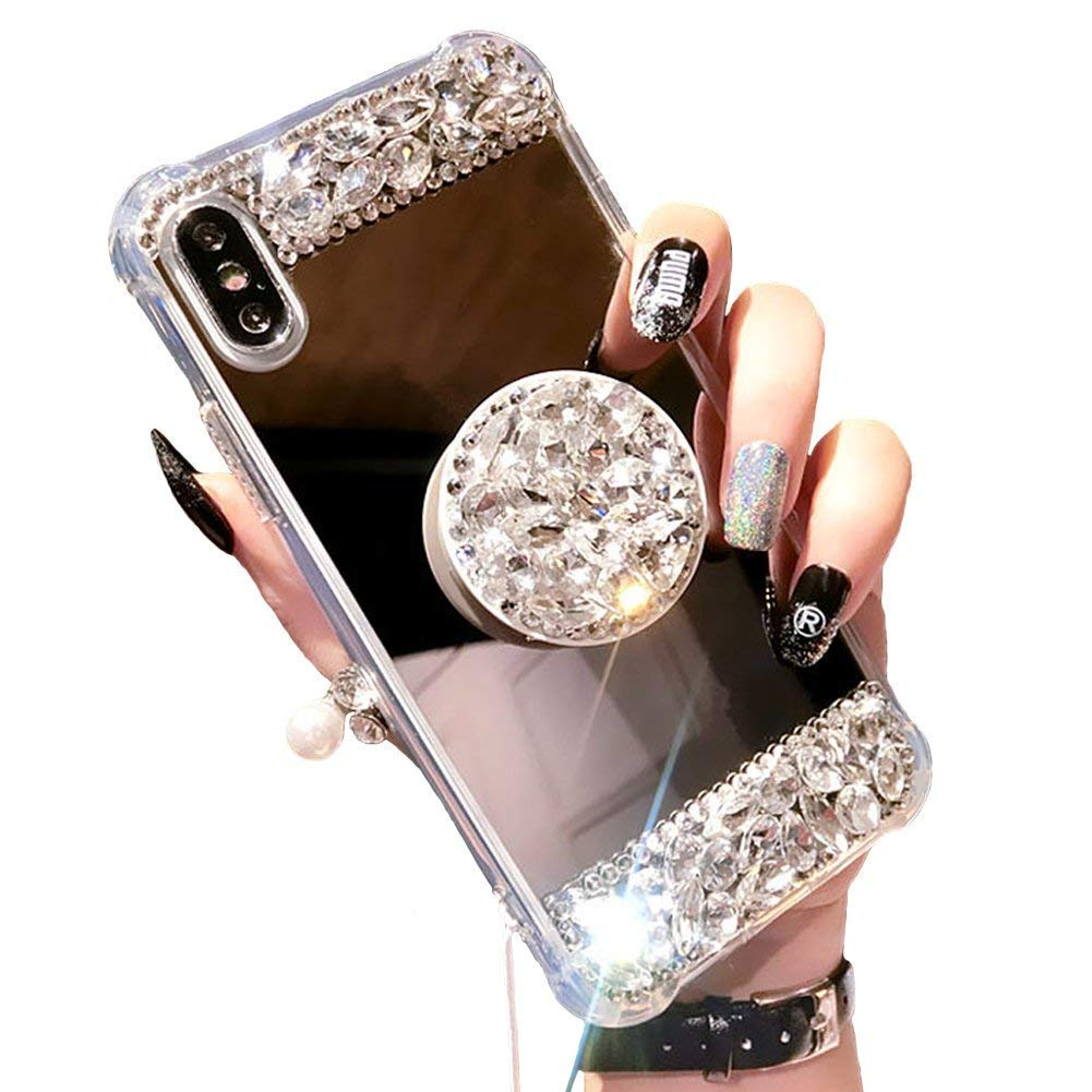iPhone 6 Handmade Rhinestone Case-Aulzaju 3D Bling Shiny TPU Mirror Cover for iPhone 6s Super Luxury Nice Soft Slim Case with Collapsible Ring Stand-Silver