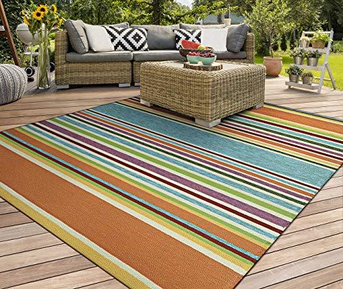 Couristan Covington Sherbet Stripe/Multi Rug, Azure, 3-Feet 6-Inch x 5-Feet 6-Inch