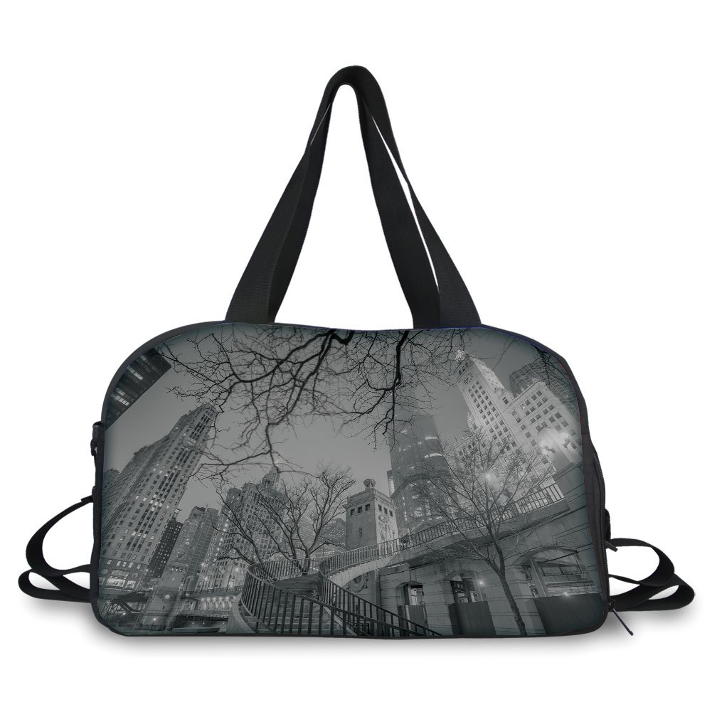 Travelling bag,Black and White Decorations,Chicago Downtown Night Highrise Buildings Tree Branches Decorative,Grey Black White ,Personalized