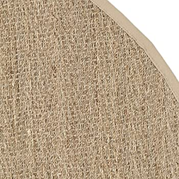Safavieh Natural Fiber Collection NF115A Herringbone Natural and Beige Seagrass Round Area Rug (6 Diameter)