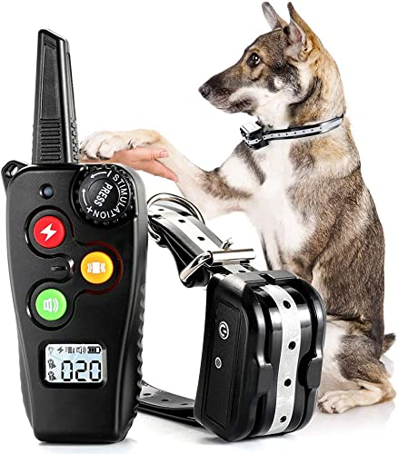 rabbitgoo Dog Training Collar with Remote – 3 Modes Beep, Vibration, Static – Waterproof Shock Collar w 1000ft Range for Large Dogs, USB Rechargeable, Adjustable 100 Levels for Safe Pet Training