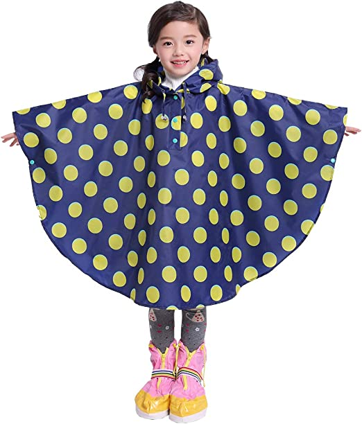 LIVACASA Kids Hooded Rain Poncho 3D Cute Animal Design Transparent PVC Hat Brim Free Movement 4-8 Years