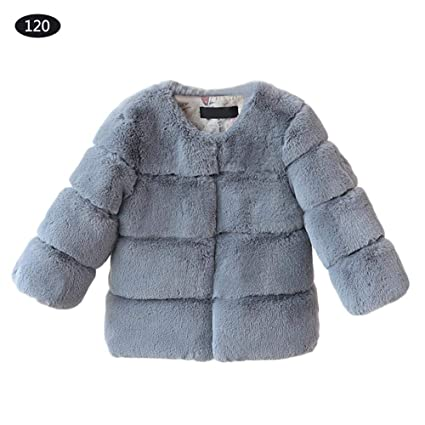 90beebc2b Amazon.com  Winter Faux Fur Coat Jacket Warm Outerwear Toddler Kids ...