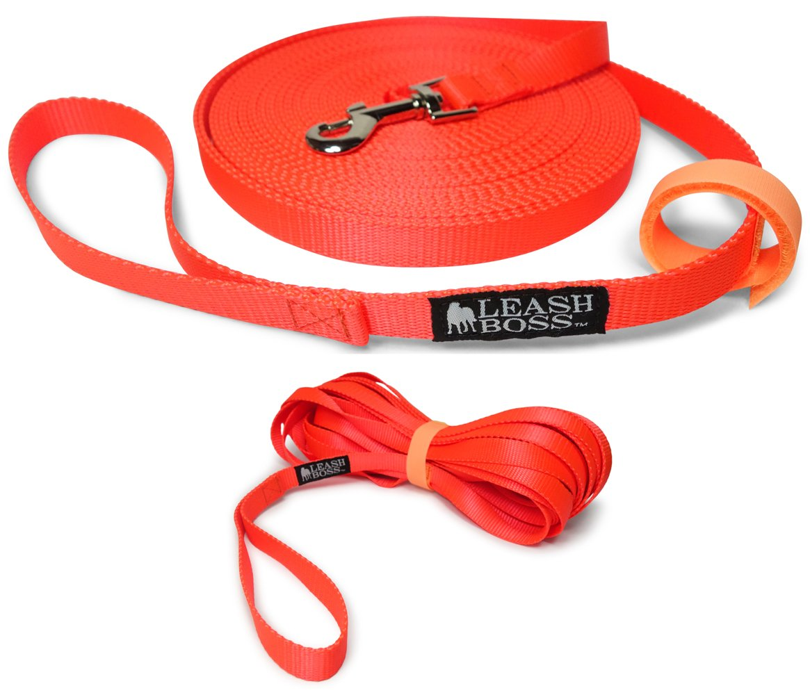 Leashboss Long Trainer - 30 Foot 3/4 Inch Lead - Nylon Dog Training Leash with Storage Strap - K9 Recall (30 Ft, 3/4 in, Orange)