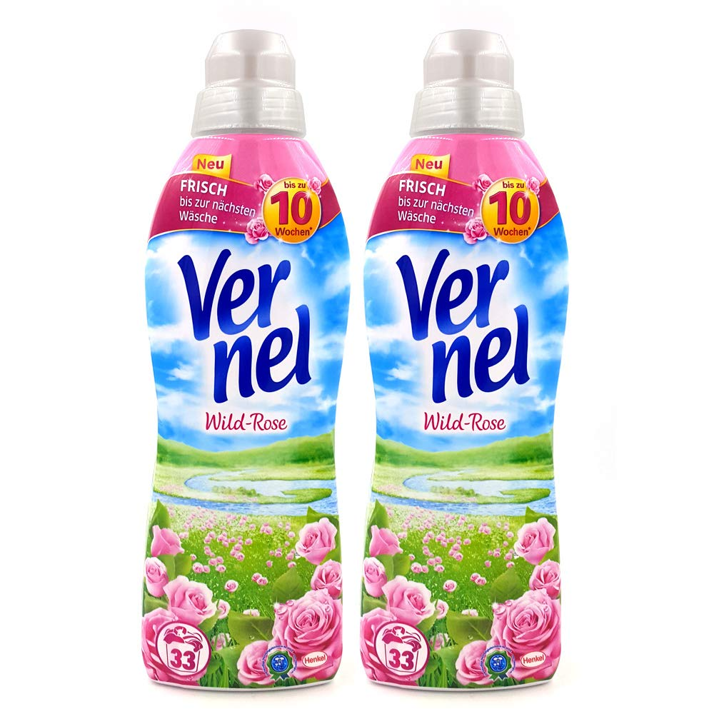 Vernel Concentrated Fabric Softener Wild Rose(formally Rose Pink) - Pack of 2 1L 33.8 Fluid Ounce (appr 33 Loads)