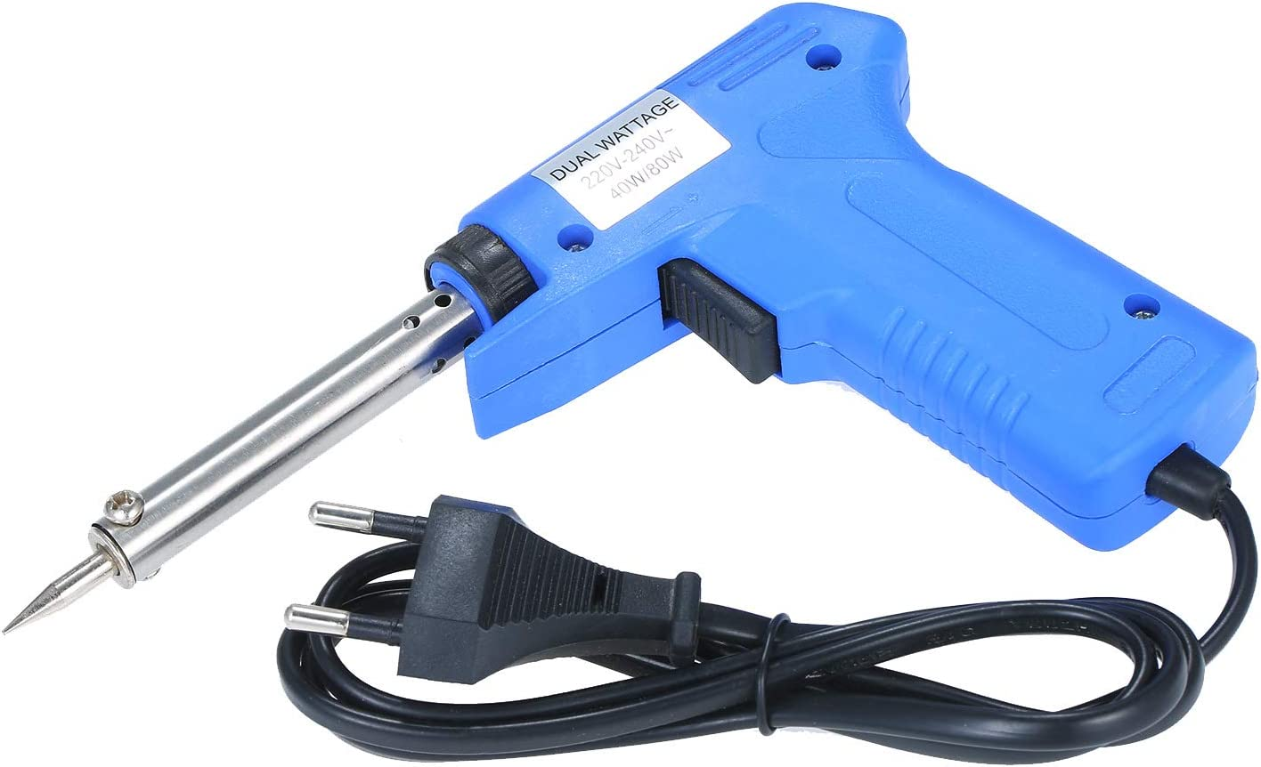KKmoon Saldatore elettrico a doppia potenza Tipo di Pistola Saldatore elettrico Potenza regolabile Saldatore pistola Blu 40W//80W regolabile