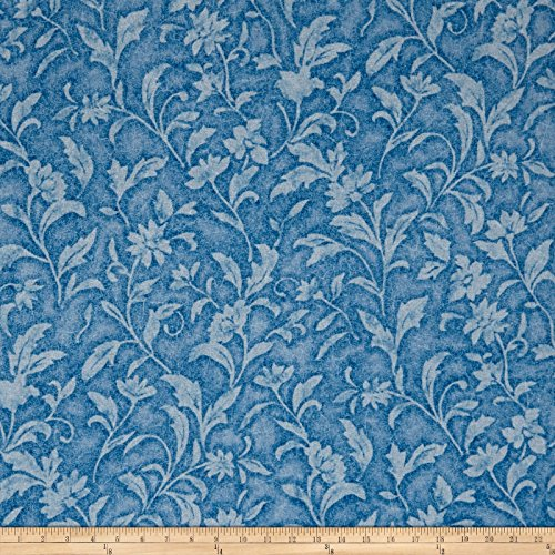 Santee Print Works Vintage Tapestry Floral Blue Fabric by The Yard