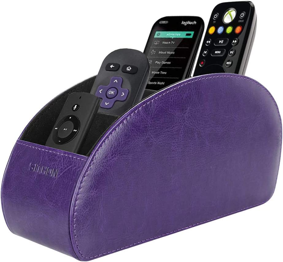 SITHON Remote Control Holder with 5 Compartments - PU Leather Remote Caddy Desktop Organizer Store TV, DVD, Blu-Ray, Media Player, Heater Controllers, Purple
