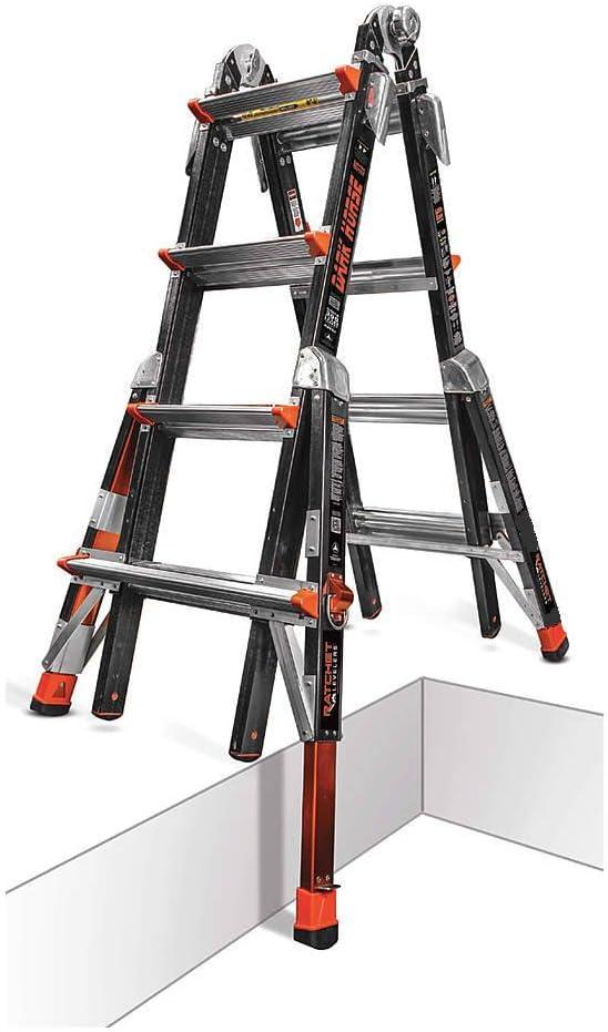 Poco gigante 17 oscuro caballo niveladores Fibra de vidrio escalera multiusos con trinquete 300 Libra calificación 15147 – 801: Amazon.es: Bricolaje y herramientas