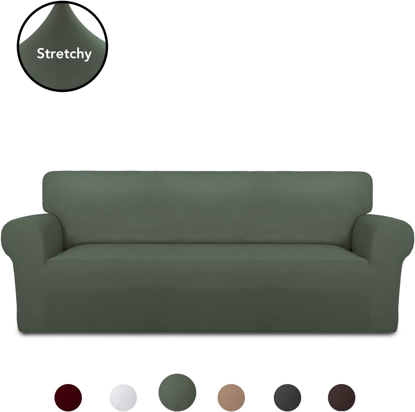 PureFit Super Stretch Chair Sofa Slipcover – Spandex Non Slip Soft Couch Sofa Cover, Washable Furniture Protector with Non Skid Foam and Elastic Bottom for Kids, Pets (Oversized Sofa,Grayish Green)