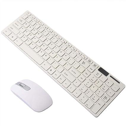 01ea7f3fe44 Amazon.com: Donteng White 2.4G Slim Wireless Keyboard Cordless ...
