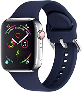 eCamframe Sport Watch Bands Compatible for Apple Watch Band 38MM 40MM 42MM 44MM, Soft Silicone Wristband Strap Compatible with iWatch SE, Apple Series/6/5/4/3/2/1 (Navy, 42mm 44mm-M/L)