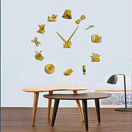 BBNNN Sastrería Decorativa DIY Reloj de Pared Grande para Sala de ...