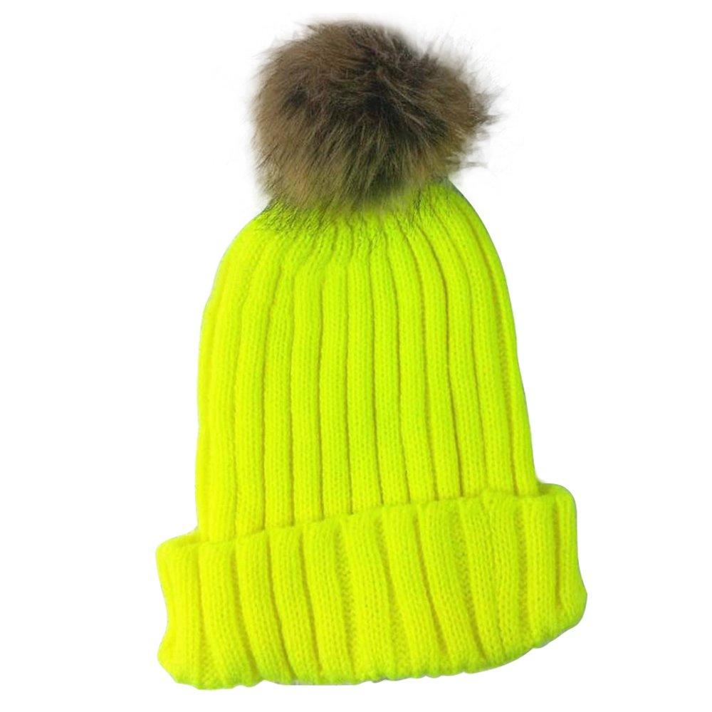 Neverland Damen Kunstfell Pom Pom Knit Cuffed Winter Mütze Ski Mütze Cap