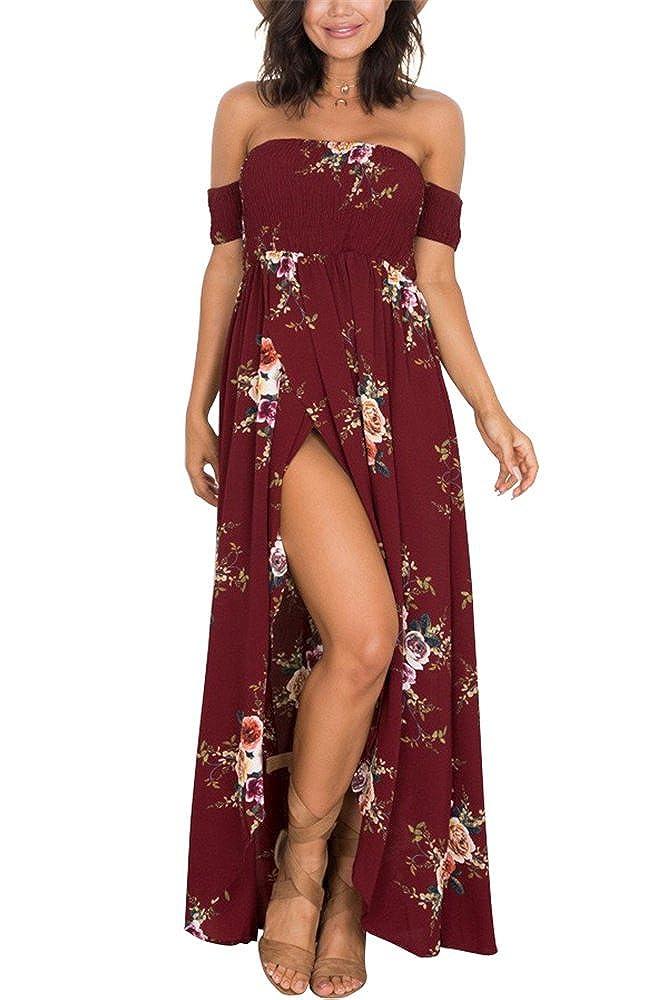 Miss Floral Womens Off Shoulder Floral Print Split Maxi Dress 3 Colour Size 6-16 Legendary Anpire Limited
