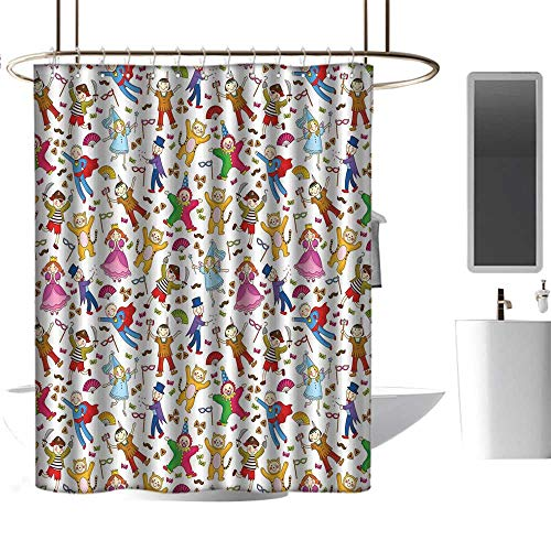 - Qenuan Modern Luxurious Shower Curtain Kids,Native American Pirate Princes Cat Costume Wearing Children Pattern Colorful Abstract,Multicolor,Hand Drawing Effect Fabric Shower Curtains 72