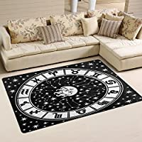 LORVIES Horoscope Circle Black And White Zodiac Sign Area Rug Carpet Non-Slip Floor Mat Doormats for Living Room Bedroom 60 x 39 inches
