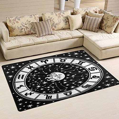 (LORVIES Horoscope Circle Black And White Zodiac Sign Area Rug Carpet Non-Slip Floor Mat Doormats for Living Room Bedroom 60 x 39 inches )