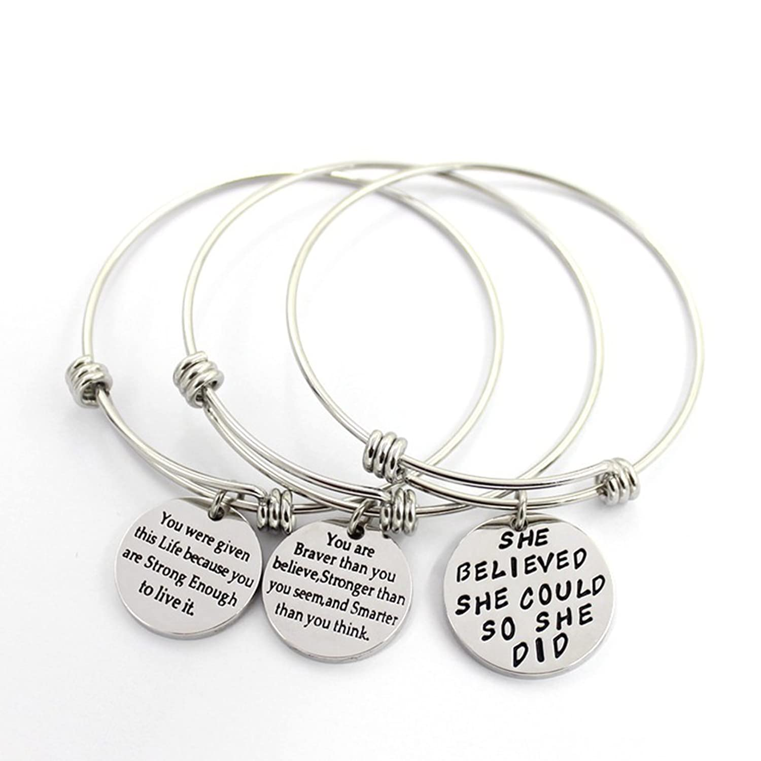 message gift never surrender charm bangle bangles adjustable bracelet with stop inspired in item jewelry inspirational wire crystal from fishhook orange