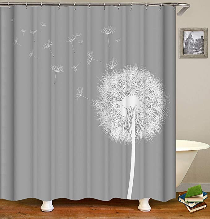 Tjz Home Dandelion Shower Curtain Dandelion Seeds Dancing In The Wind Polyester Cloth Print Bathroom Curtains Include Hooks Set 72 W By 72 L Home Kitchen Amazon Com