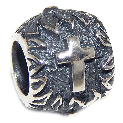 Pro Jewelry 925 Solid Sterling Silver Barrel with Crosses and Flowers Charm Bead