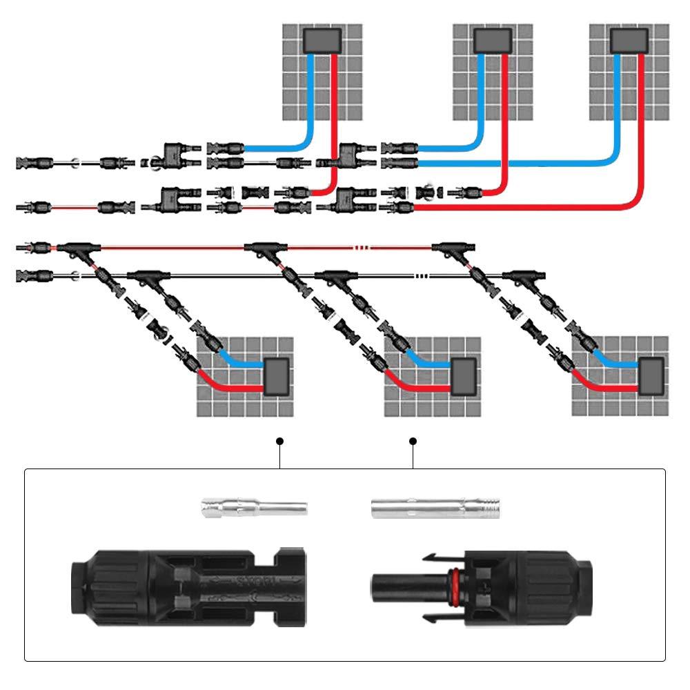 Nero Connettori per Solare Connettori da Cavo per Pannelli Solari Connettori Maschio e Femmina Impermeabile per collegare Sistema Solare 10 paia Connettori