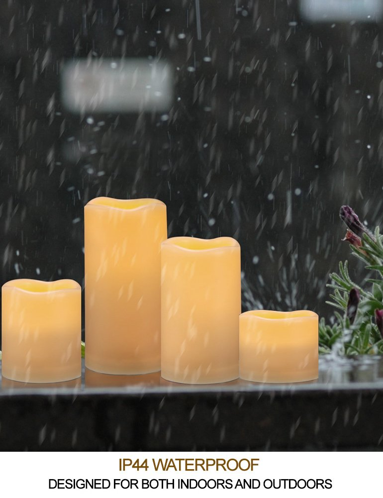 HOME MOST Set of 4 WATERPROOF Outdoor LED Pillar Candles with Remote (IVORY, 3''/4''/5''/6'' Tall, Wavy Edge) - LED Candles Flickering Outdoor Decorative Candles Set - Candle Decor Fake Candles with Timer by HOME MOST (Image #2)