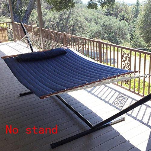 Vansaile Hammock Outdoor Quilted Cotton Fabric Beach Rope Hammocks Patio Hammock Bed Swing Bed Back Yard with Pillow New Sea Navy Blue