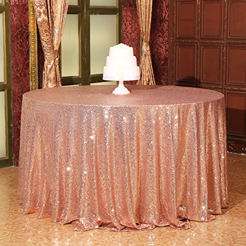 "Eternal Beauty Round Sequin Tablecloth Sequin Table Linen, 72"", Champagne Blush"