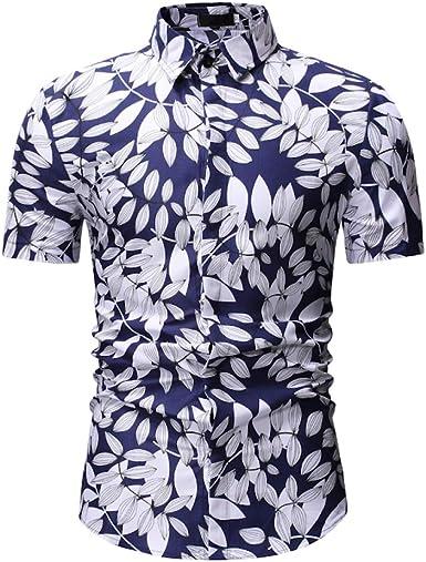 Jinyuan Camisa De Hombre Camisa Hawaiana De Playa con Estampado De Palmeras De Estilo Veraniego Camisa Hawaiana Casual De Manga Corta para Hombre: Amazon.es: Ropa y accesorios