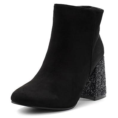 Women's Shoe Faux Suede Zipper Up Chunky Glitter Heels Ankle Boots TWB0103
