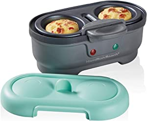 Hamilton Beach Removable Nonstick Tray Makes 2 in Under 10 Minutes, Teal (25511) Electric Egg Bites Cooker, Hard Boiler & Poacher