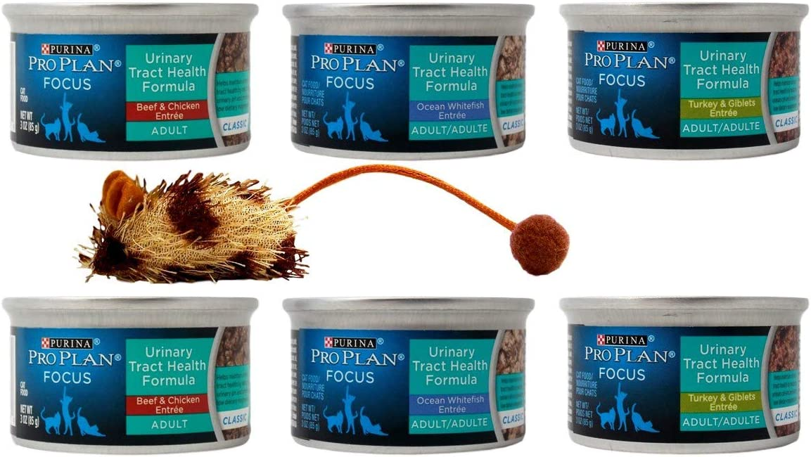 Purina Pro Plan Focus Urinary Tract Health Formula Cat Food Entree 3 Flavor 6 Can with Catnip Mouse Sampler Bundle, (2) Each: Beef Chicken, Ocean Whitefish, Turkey Giblets, (3 Ounces)