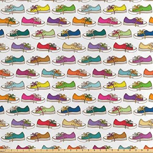 Lunarable Colorful Fabric by The Yard, Hand Drawn Style Multicolored Sneakers Pattern Casual Hipster Footwear Concept, Decorative Satin Fabric for Home Textiles and Crafts, 3 Yards, Multicolor