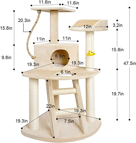 Cat Tree Condo Furniture with Scratching Posts Cat Activity Tree Heavy Duty Corner Cat Tower Pet House Scratcher Multi-level Kitty Play House for Kitten with Perch Play Toy Beige