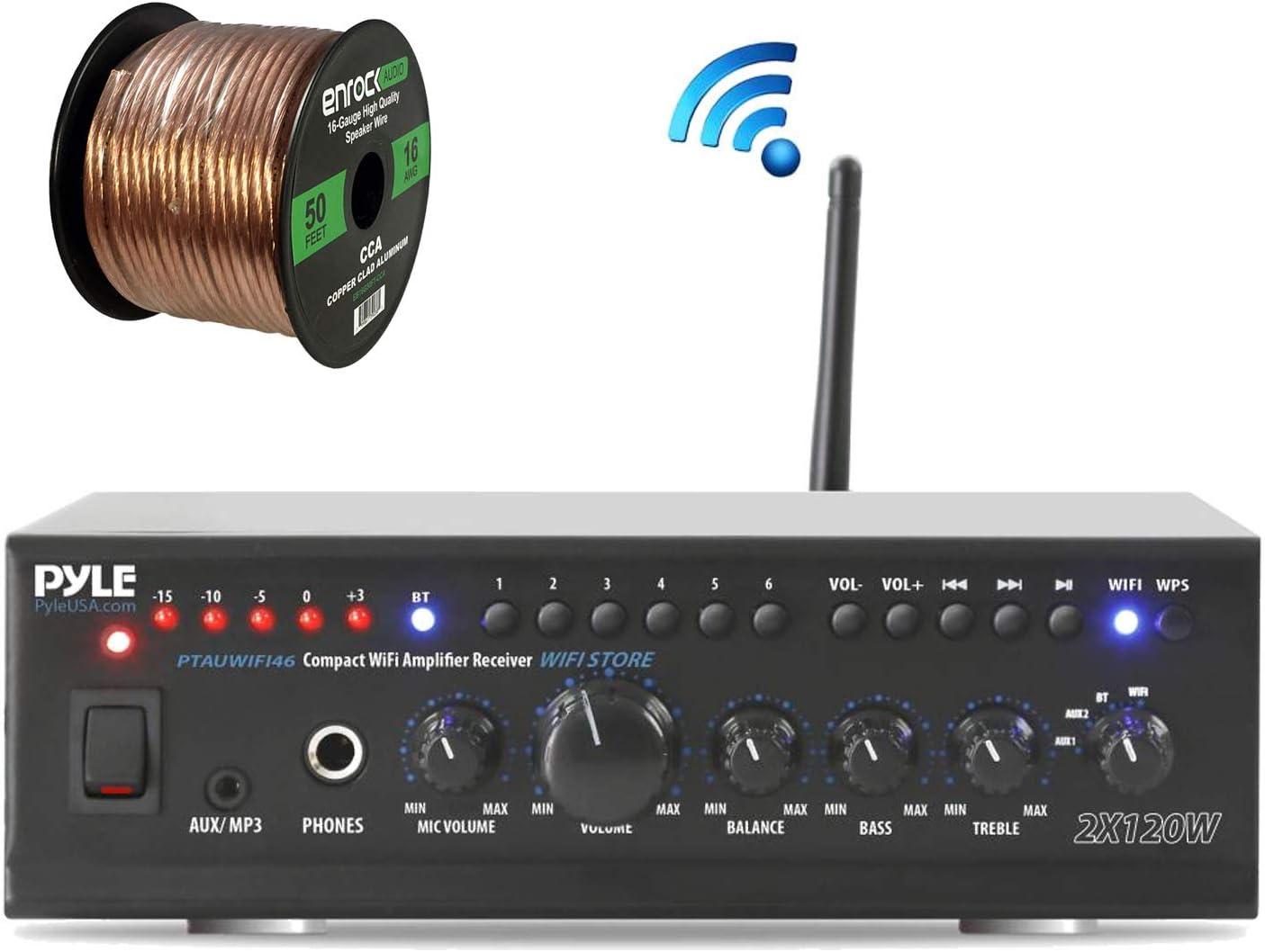 Pyle PTAUWIFI46 WiFi Bluetooth Stereo Amplifier 240-Watt Home Theatre Receiver, Enrock Audio Spool of 50 Foot 16-Gauge Speaker Wire (No Speaker)