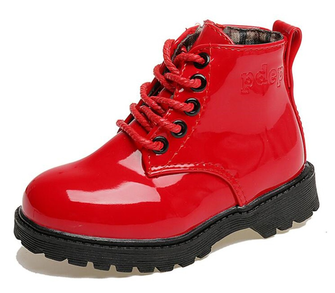 Bumud Kids Waterproof Lace Up Boots Boys Girls Hiking Ankle Boots Winter Warm Shoes(Toddler/Little Kid) (10 M US Toddler, Red)