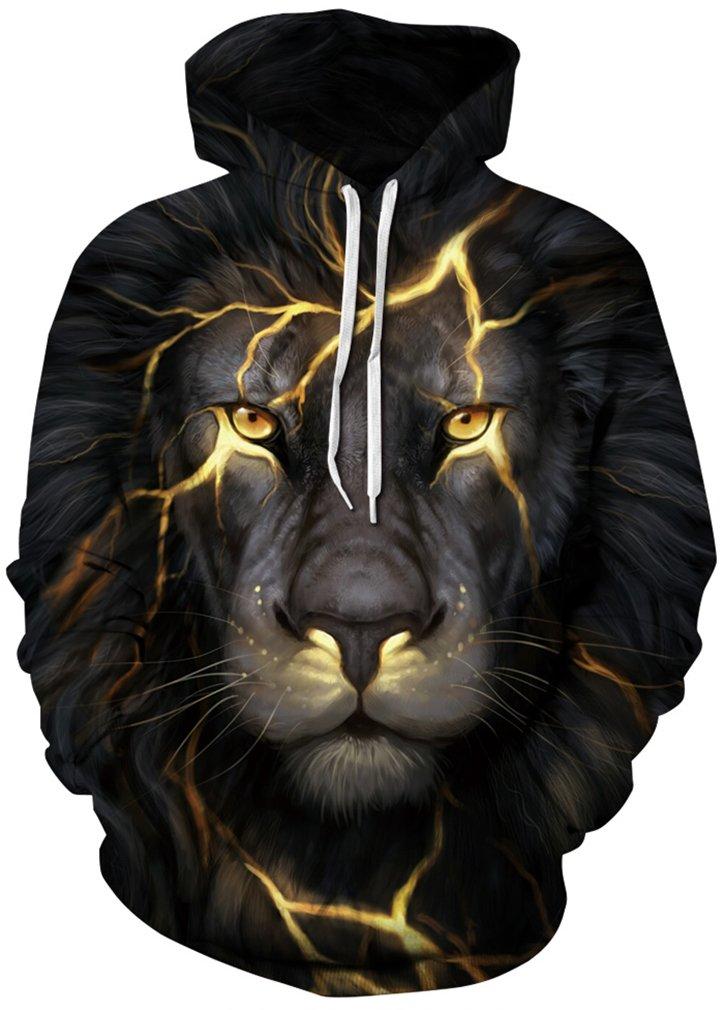 FLYCHEN Men's Digital Print Sweatshirts Hooded Top Galaxy Pattern Hoodie L/XL Black Flash Lion