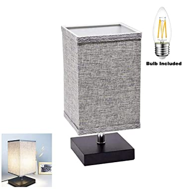 LED Minimalist Grey Bedside Nightstand Table Lamp, Solid Wood Desk Lamp Night Light with Square Fabric Shade for Bedroom, Living Room, Kids Room, College Dorm, Coffee Table, Bookcase