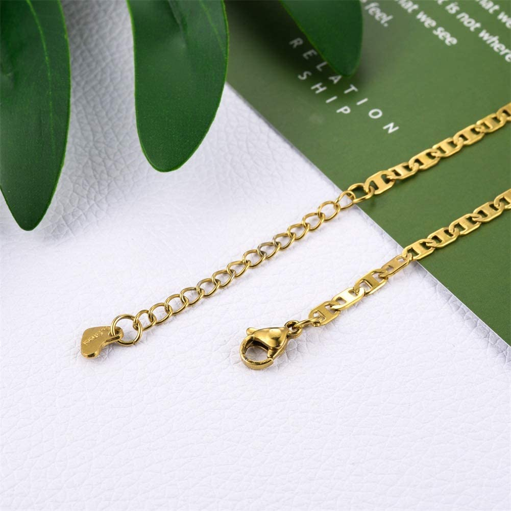 HooAMI Women Anklet Bracelet with Adjustable Foot Chain Stianless Steel Jewelry for Beach Sandal 23cm
