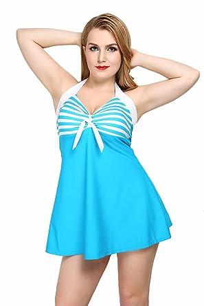 TT Global Damen Zwei Stück Badeanzug Bauchweg Badebekleidung Badekleid mit  Shorts,Sexy Eingebauter Cup Halfterneck 5ebd6ef586