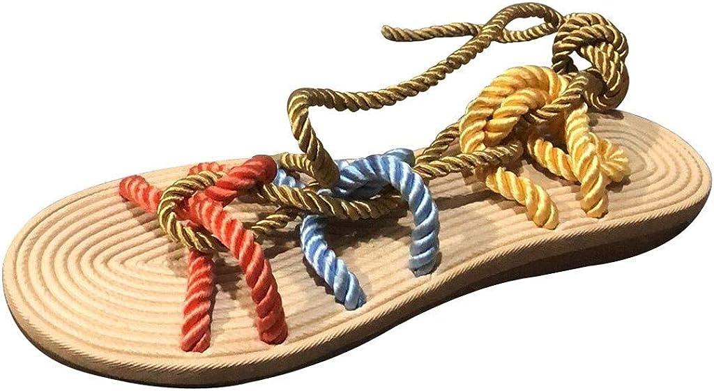 YWLINK Zapatillas De Verano para Mujer Roma Zapatillas De Playa De Encaje Plano De CáñAmo Cuerda Abierta Sandalias De Dedo del Pie Antideslizante CóModo Moda TamañO Grande Zapatos