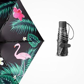 Umbrella - Windproof Flamingo Sunscreen Umbrella UV Protection Female Folding Umbrella Dual Use 5 Fold Umbrella