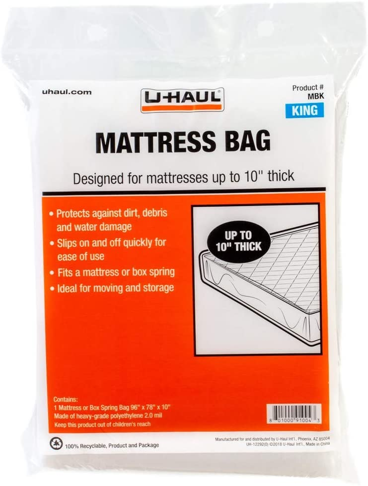 "U-Haul Standard King Mattress Bag – Moving & Storage Cover for Mattress or Box Spring – 96"" x 78"" x 10"""