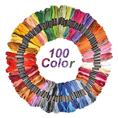 Hisome Embroidery Thread Craft Cross Stitch Floss 100 Skeins Rainbow Color Friendship Bracelet ()