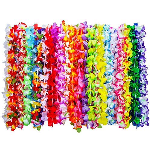 Shappy 36 Pieces Tropical Hawaiian Luau Flower Leis Necklaces for Beach Theme Party Supplies Decorations Favors Ornaments, 35 Colors