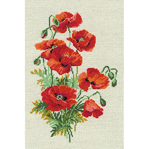 RIOLIS 808 16 Count Wild Poppies Counted Cross Stitch Kit, 8.25
